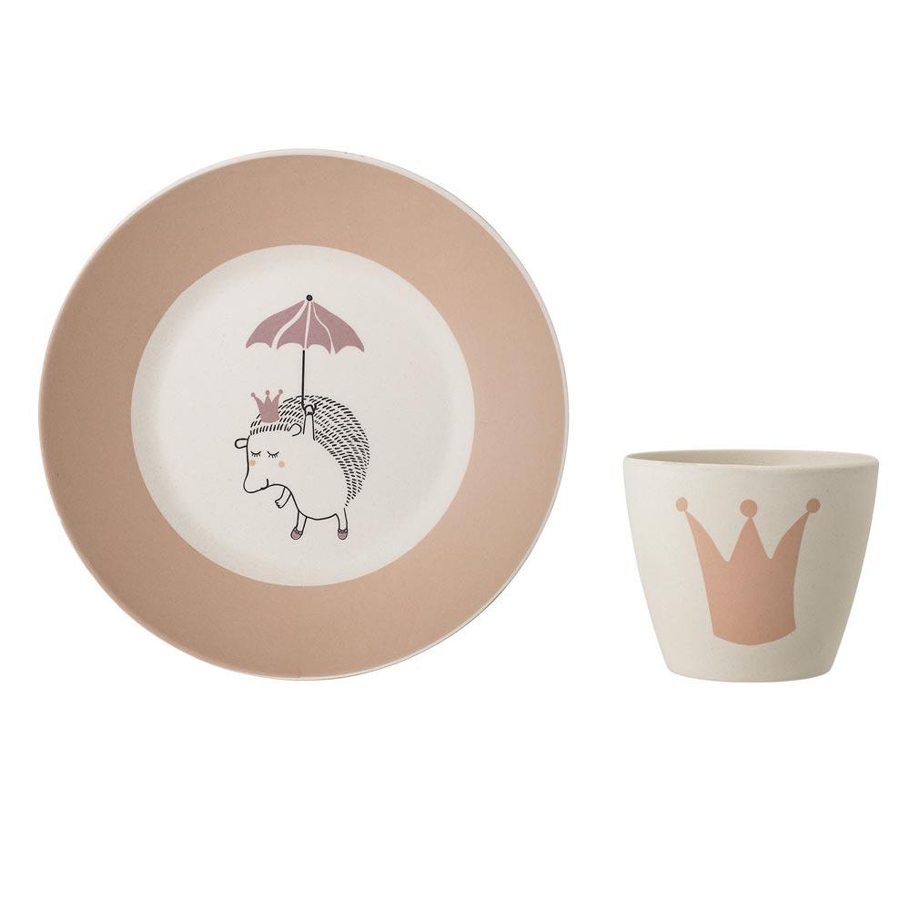 Assiette et gobelet en bambou Princesse Bloomingville Mini