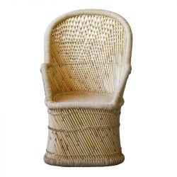 Fauteuil scandinave bambou dossier haut