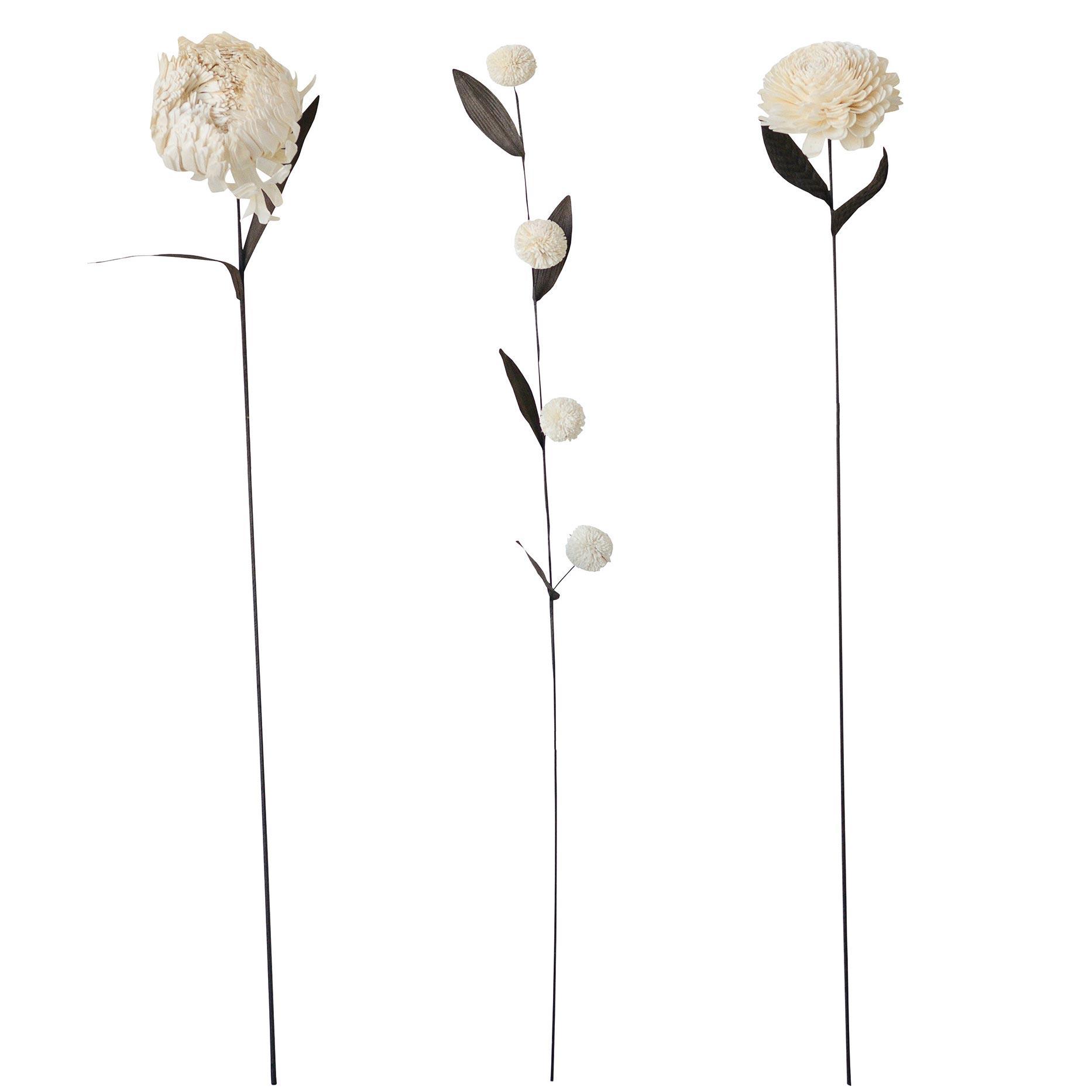 Grande fleur artificielle en bambou Bloomingville Version - Pompons