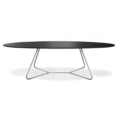 Table basse design ovale noire e1 for Table ovale design