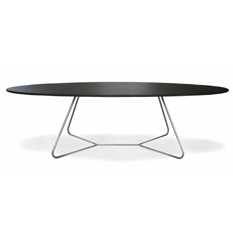 Table basse design ovale noire e1 for Table basse salon ronde ou ovale