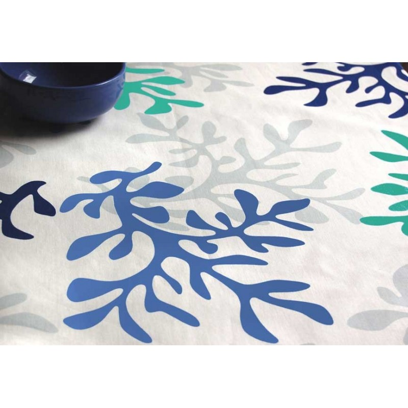 nappe enduite en coton corail bleu. Black Bedroom Furniture Sets. Home Design Ideas