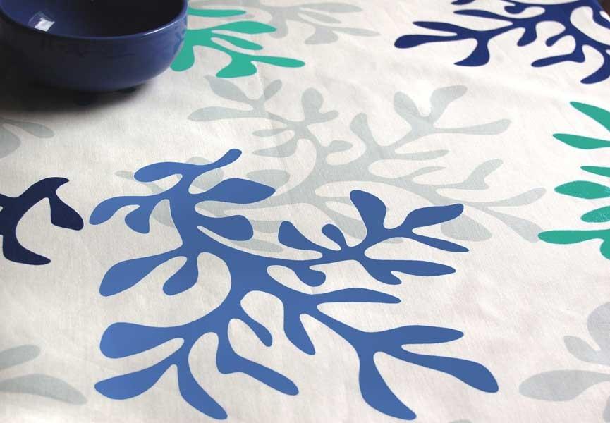 Nappe enduite Corail Bleue Taille - 120 x 180 cm