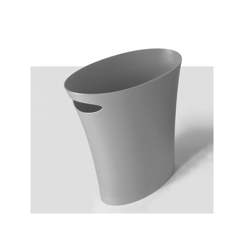 the silver gray skinny wastebasket at pure deco. Black Bedroom Furniture Sets. Home Design Ideas
