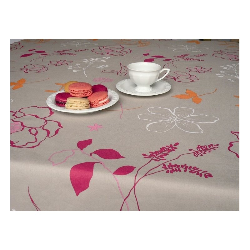 Nappe enduite framboise nappe carree ou rectangulaire for Nappe table basse rectangulaire