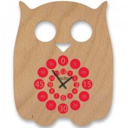 Owl wood children wall clock
