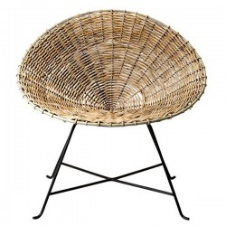 Round rattan armchair by bloomingville