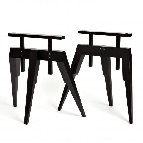 tr teau bois tr teaux noir pour bureau ou table compass. Black Bedroom Furniture Sets. Home Design Ideas
