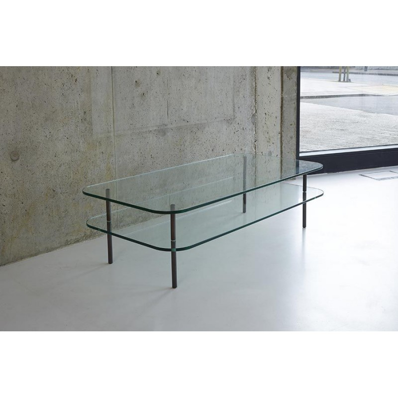 Table basse verre table basse design deux plateaux for Table basse verre