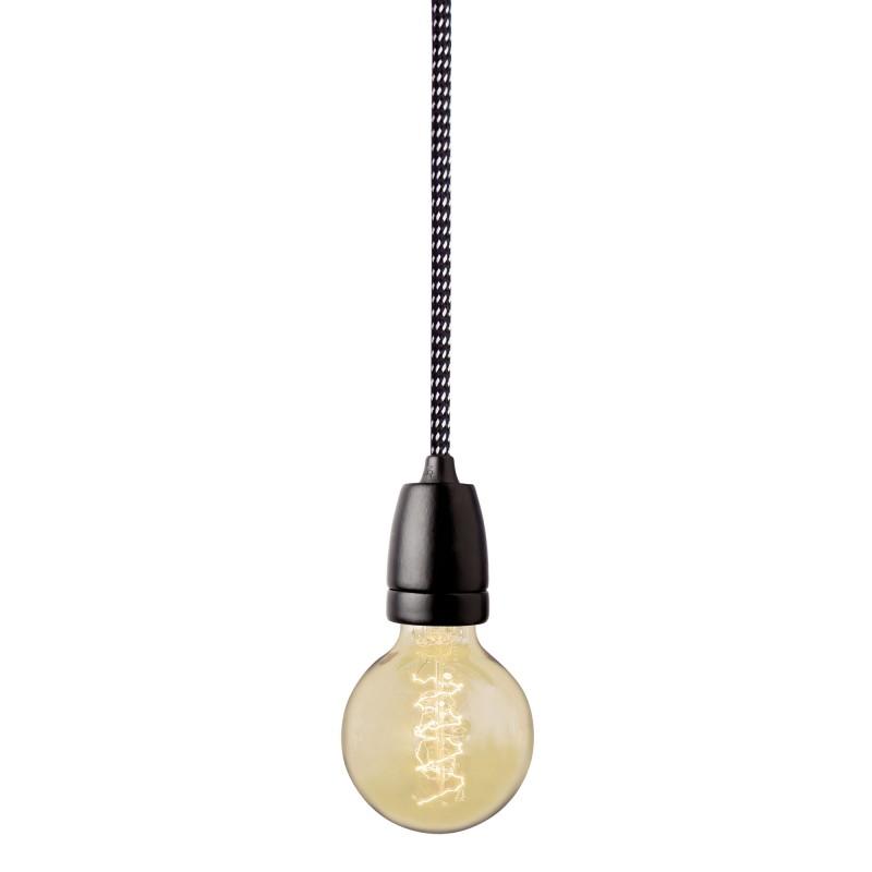 Suspension douille noire nud collection for Suspension noire design