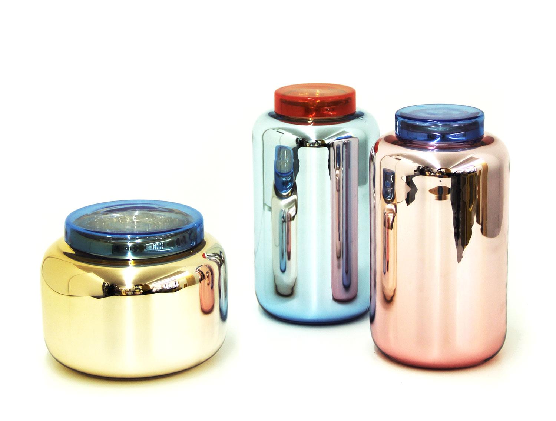 Vase HC - LC Couleur - Bleu ciel argenté top rouge, Version - LC (Low Container)