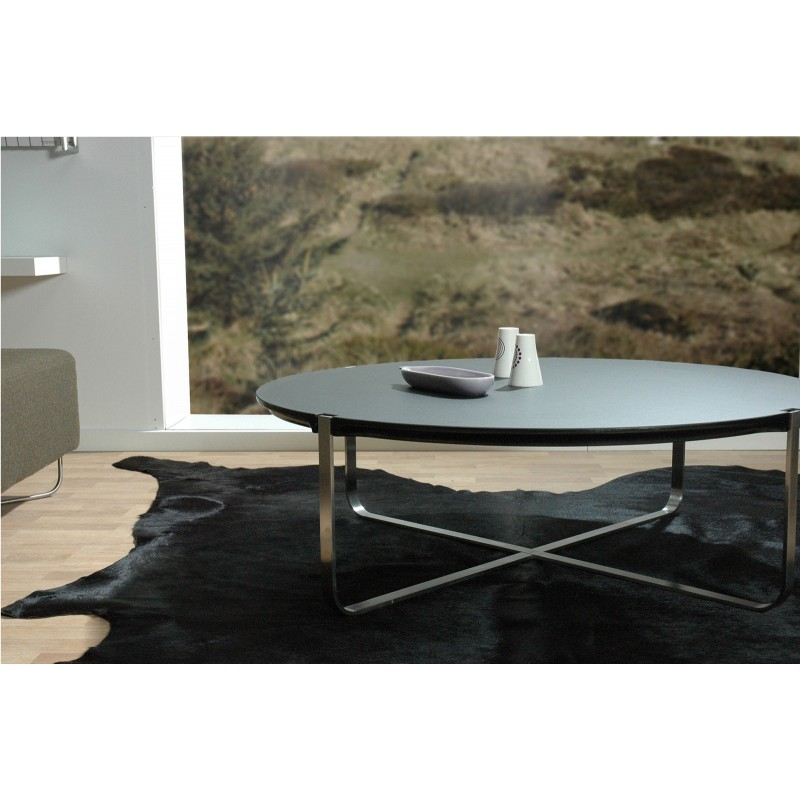 table basse design ronde c1 noire pure deco design. Black Bedroom Furniture Sets. Home Design Ideas