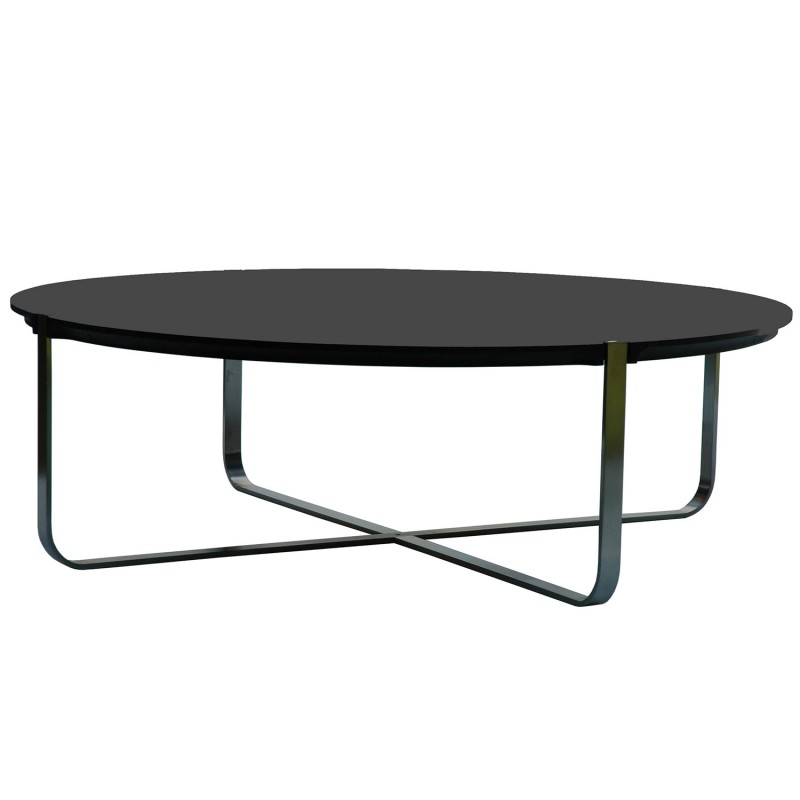 Table basse design ronde c1 noire pure deco design - Table basse noire design ...