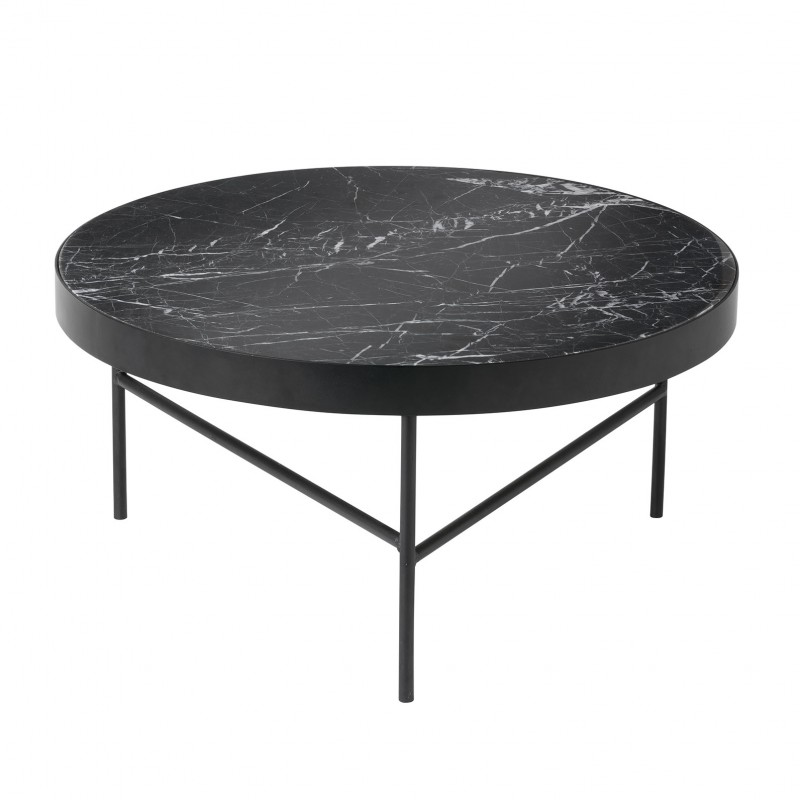 Black marble table by ferm living - Table basse metal noir ...
