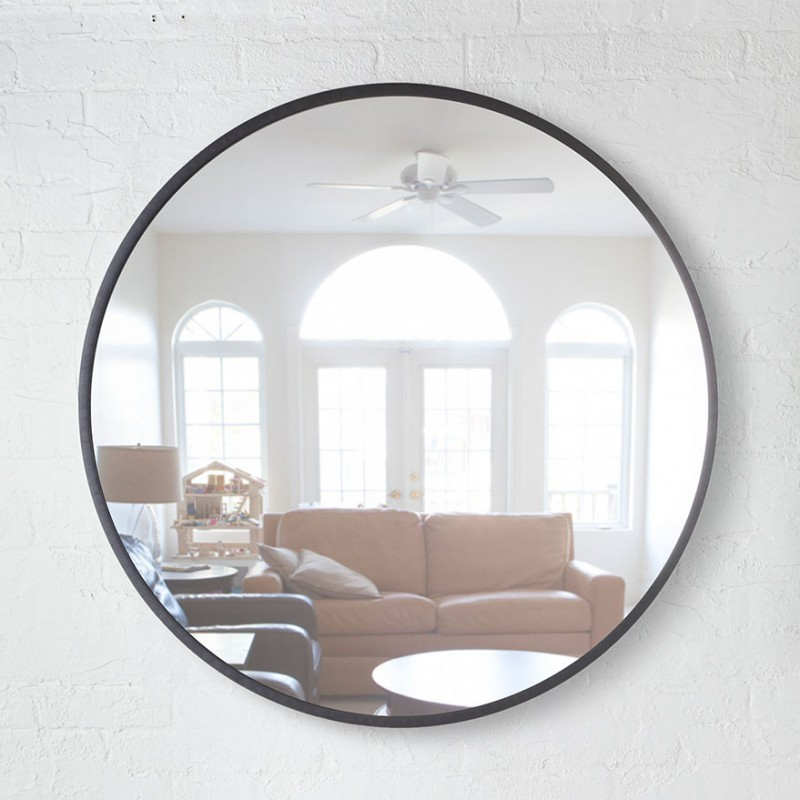 Grand miroir rond grand miroir noir design hub par umbra for Miroir noir rond