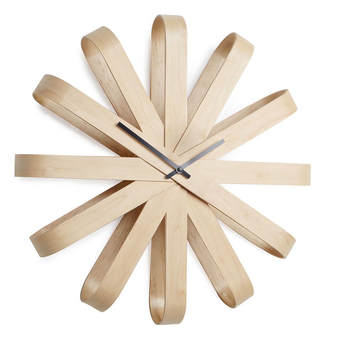 Horloge murale en bois Ribbon