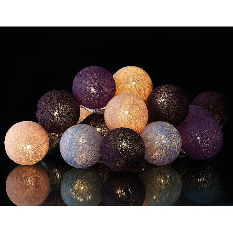 guirlande lumineuse boules coton color bolette. Black Bedroom Furniture Sets. Home Design Ideas