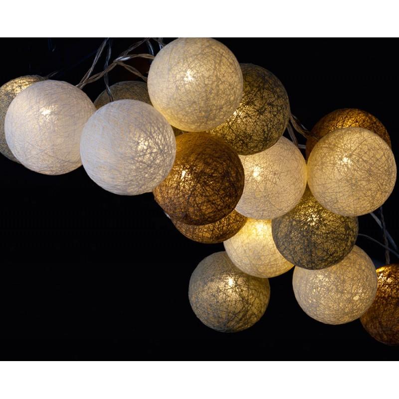 guirlande lumineuse boules coton colore bolette