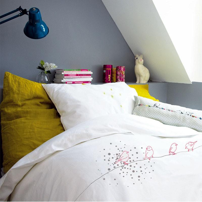 housse de couette et taie motifs oiseaux mimilou 2 tailles. Black Bedroom Furniture Sets. Home Design Ideas