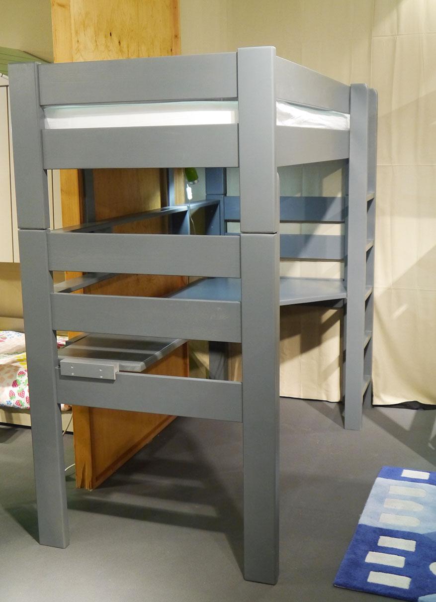 Bureau pour lit surélevé Dominique Option - Bureau d'angle + allonge, Couleur - Brut - A peindre