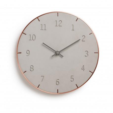 Horloge Piatto Umbra en ciment et métal cuivré