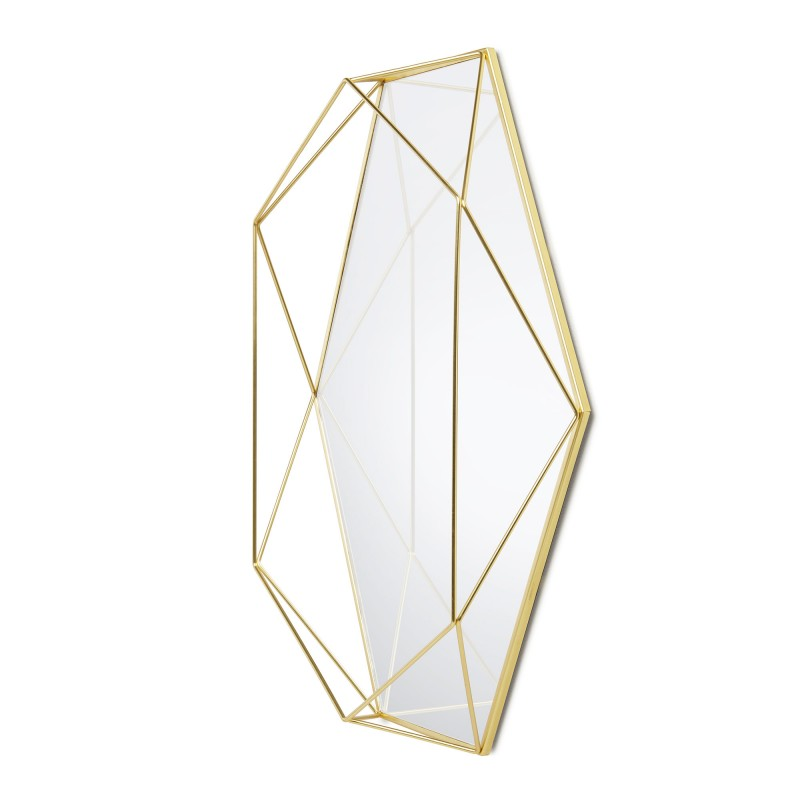 geometric wall mirror gold metal prisma umbra