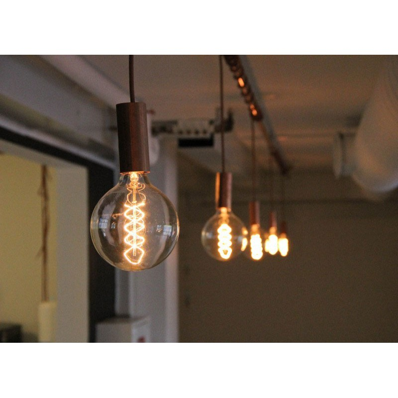 Pendant with retro copper socket by nud collection copper hanging lamp aloadofball Choice Image