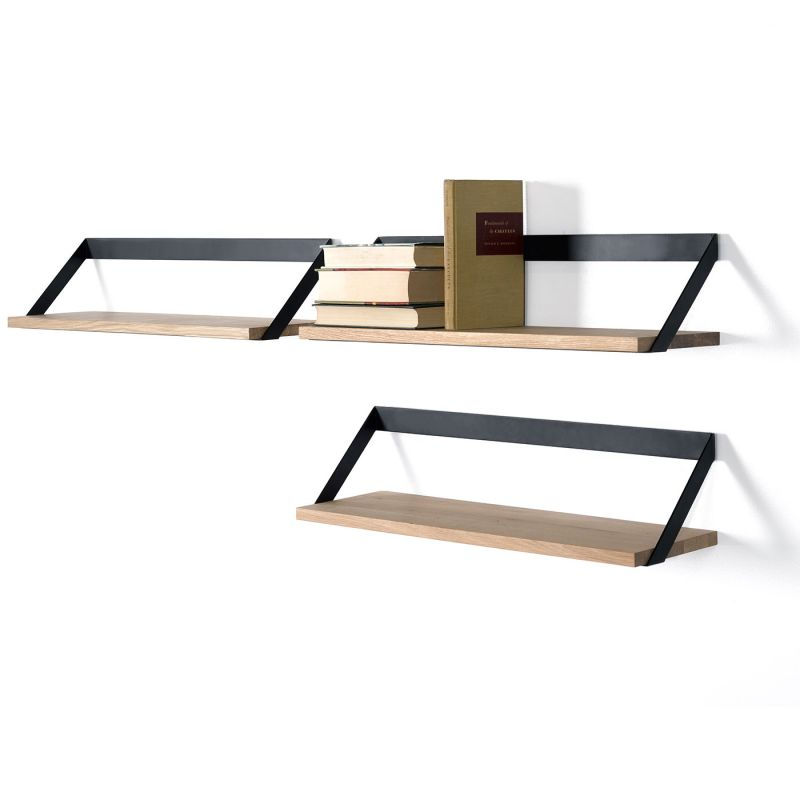 Etag re mural ribbon etag re en ch ne massif et m tal ethnicraft - Design etagere murale ...