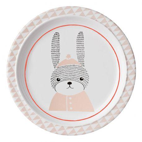 Assiette plate pour enfants lapin Bloomingville Mini