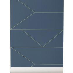 Papier Peint Lines Bleu foncé Ferm Living