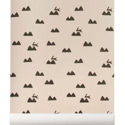 Rabbit pink wallpaper Ferm Living