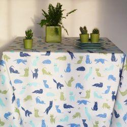 Blue Cats tablecloth