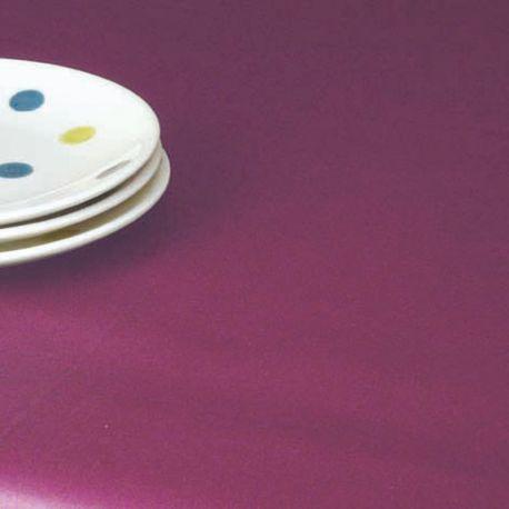 Nappe en coton enduit unie Prune