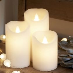 3 white LED candles moving flame