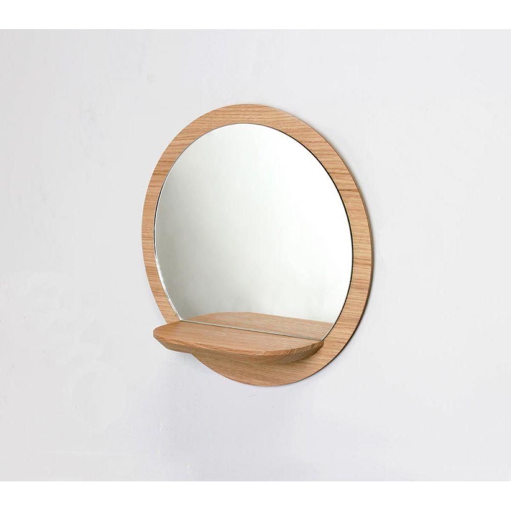 miroir rond bois avec tablette miroir tag re sunrise reine m re. Black Bedroom Furniture Sets. Home Design Ideas