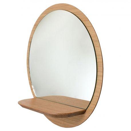 Miroir rond bois avec tablette miroir tag re sunrise reine m re for Miroir rond sans cadre