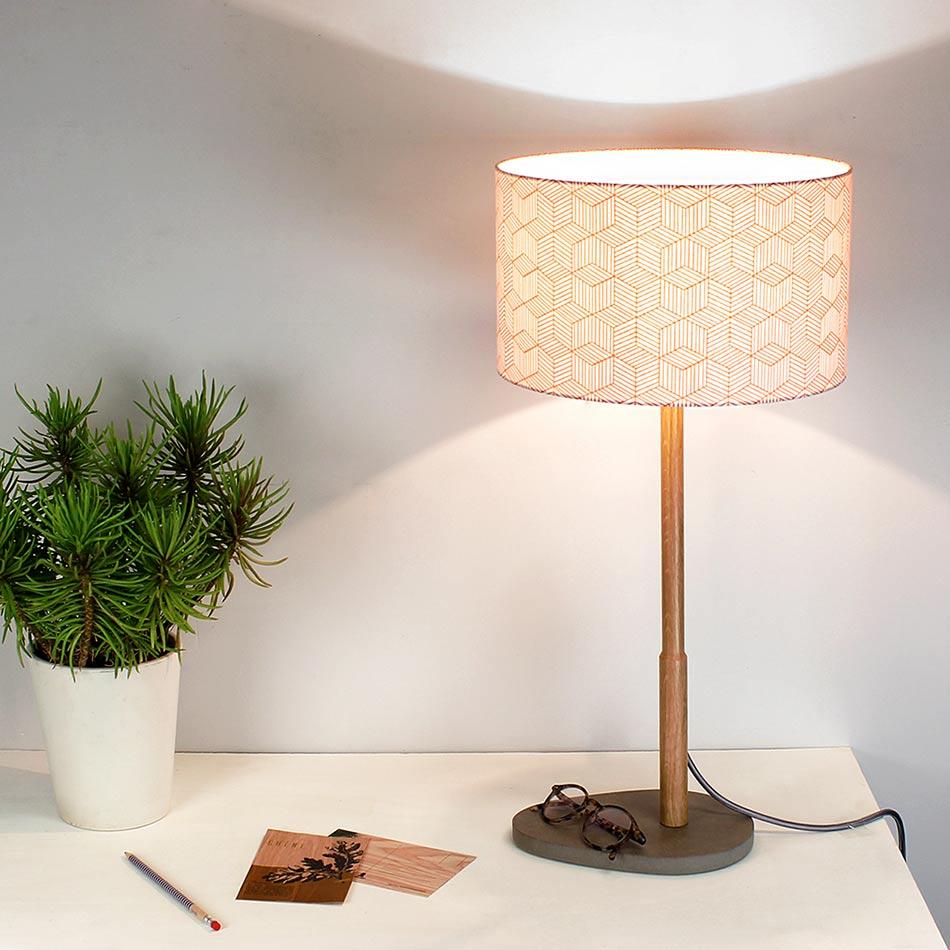 Lampe à poser Helios Reine Mère Version - Abat-jour corail d.25 cm