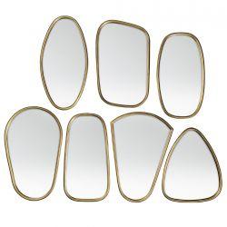 7 Miroirs cadre laiton doré Broste