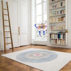 Blue living room carpet