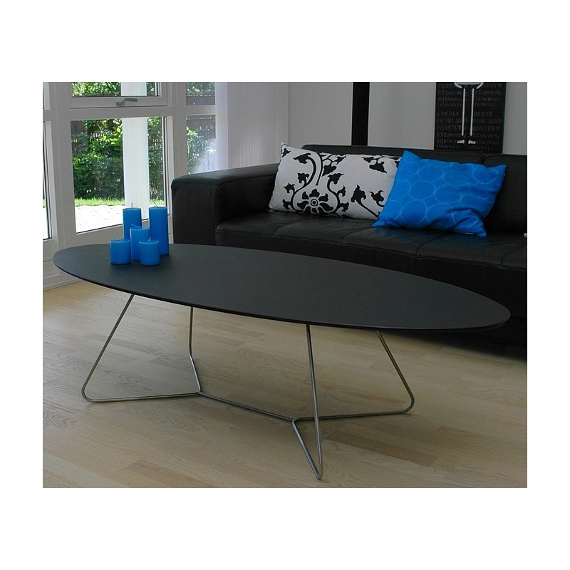 Table basse design ovale noire e1 for Deco fr table basse