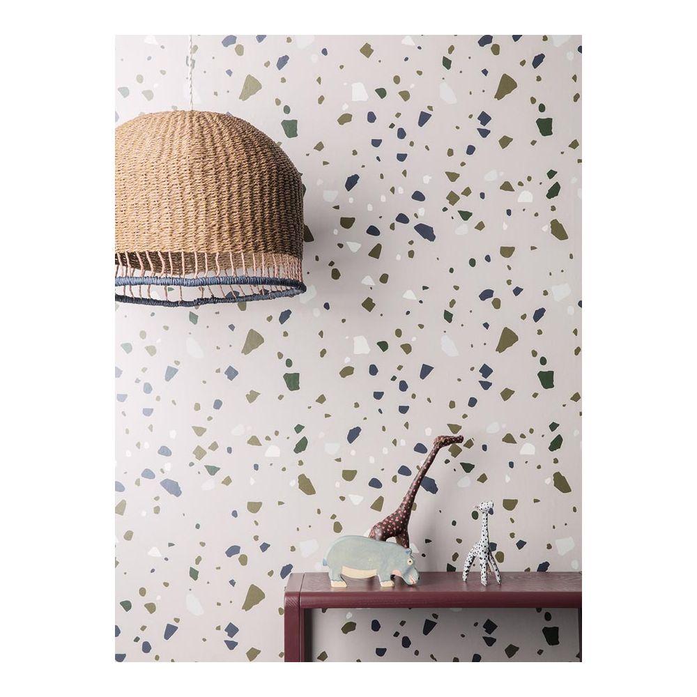 papier peint motif terrazzo rose ferm living papier peint intiss. Black Bedroom Furniture Sets. Home Design Ideas