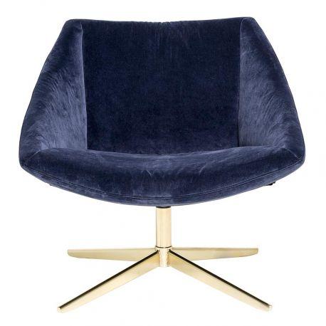 Fauteuil scandinave vintage en velours bleu design Bloomingville