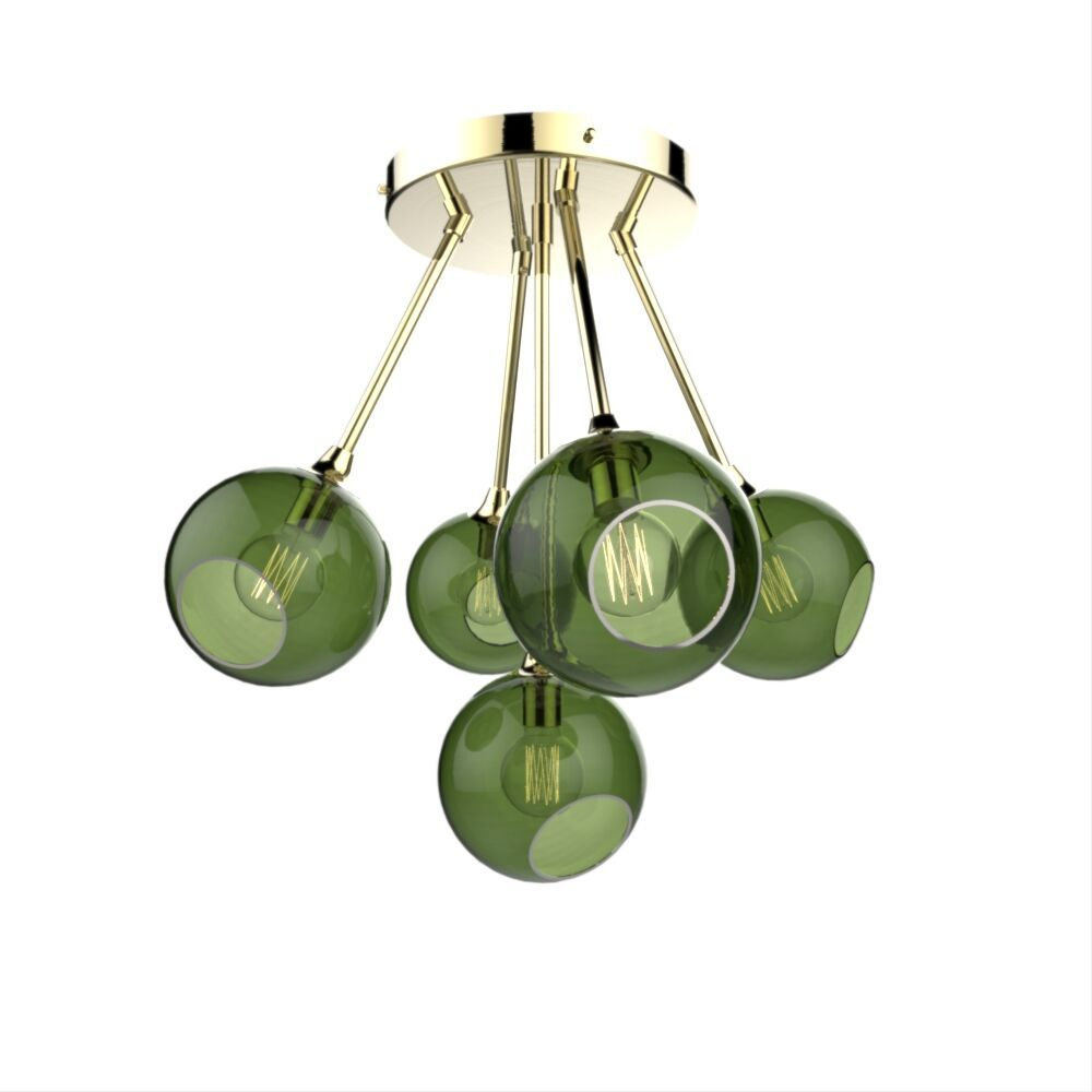 Multi colored transparent glass suspension 5 lights molecule blown glass pendant light design green transparent chandelier aloadofball Gallery