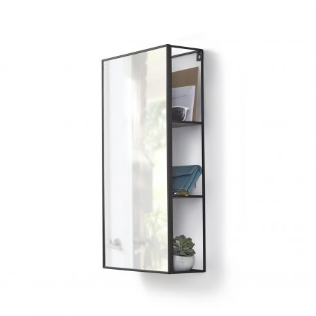 miroir de salle de bain avec rangement umbra cubiko. Black Bedroom Furniture Sets. Home Design Ideas