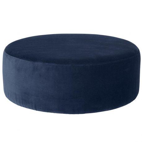 Pouf rond en velours bleu