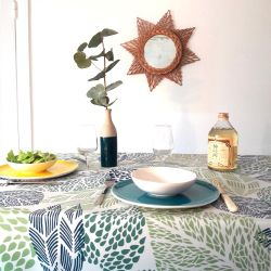 Tablecloth coated fabric Green Leaves
