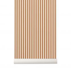 Papier Peint Thin Lines Moutarde / Blanc Cassé