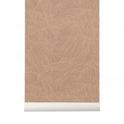 Coral dusty rose / beige wallpaper