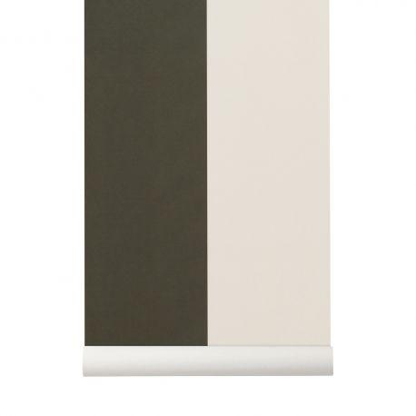 Green and white stripes wallpaper Ferm Living