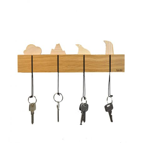 Wood wall key ring